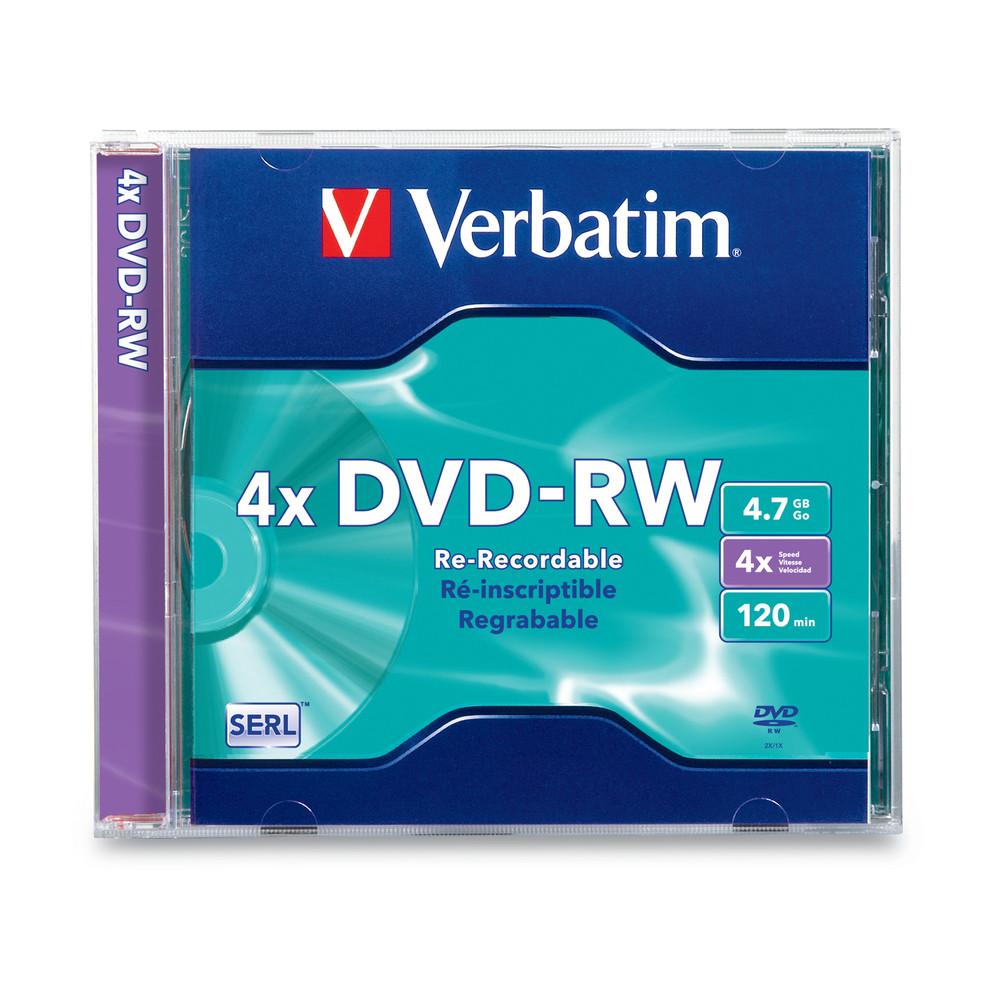 Verbatim dvd rw 4 7gb 4x with branded surface 30pk spindle 4 7gb - Home Dvd Dvd Rw Dvd Rw 4 7gb 4x With Branded Surface 1pk Slim Case